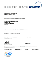 ISO 9001 : 2008 STARCO Beli Manastir d.o.o. Production of steel wheels and parts